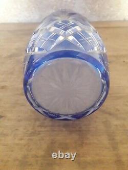 Vase cristal bleu taillé Saint Louis ancien