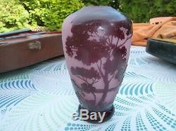 Vase delatte nancy- verre gravé-pate de verre ancien-decor lacustre