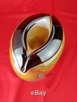 Vase en pâte de verre pailletée signé Robert Pierini Biot 1989 ancien XXe 26,5cm