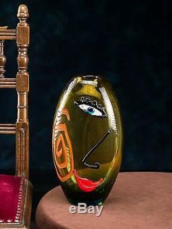 Vase en verre art moderne style verre de Murano/style ancien jaune avec mo