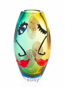 Vase en verre art moderne style verre de Murano/style ancien motif visage