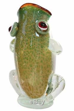 Vase style ancien grenouille style verre de murano multicolore 48cm