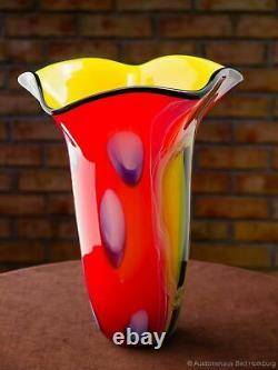 Vase style ancien verre de style Murano 32 cm 3,5 kg Fazzoletto