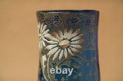 Vase verre émaillé Legras Montjoye Moser ancien bleu fleurs art nouveau 1900