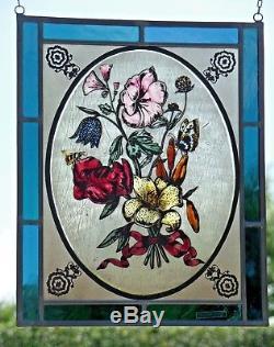 Verre au Plomb Ancien Décor de Fenêtre Bernhardt VitrailAutruche avec Lis