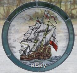 Verre au Plomb Ancien Vitrail Cogue Hanséatique sur Verre Réel