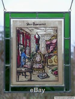 Verre au plomb Image de la fenêtre ancien Bernhardt glasmalereibild Le tapissier