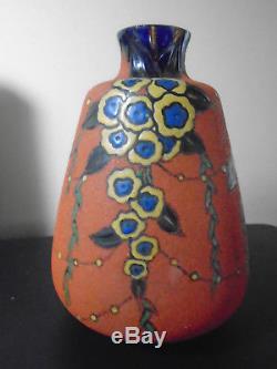 Verrerie LEUNE Ancien Vase Art déco (1861-1930) émail à chaud