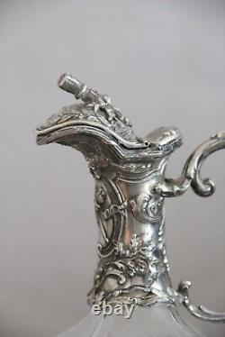 Victor Saglier Ancienne Aiguiere Cristal De Baccarat Et Metal Argente Carafe